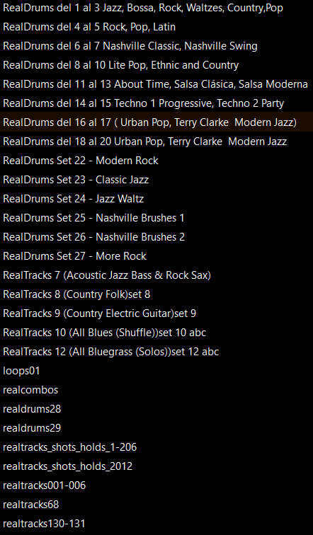 list of RealTracks I use in the backing tracks