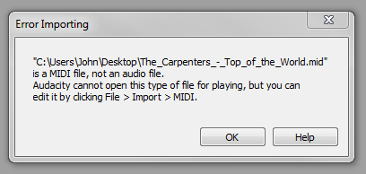 Cannot import a Midi file directly to Audacity