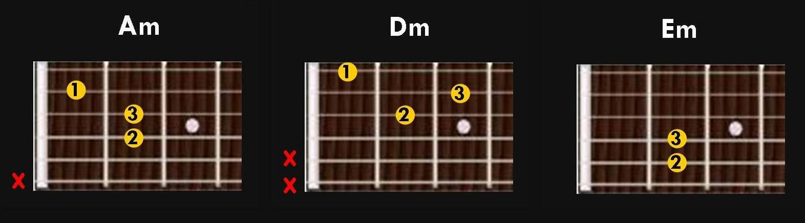 first 3 minor chords to learn